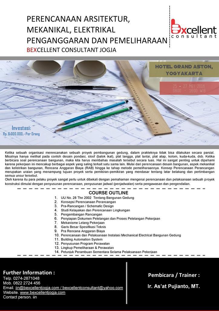 Perencanaan Arsitektur,Mekanikal,Elektrikal Penganggaran dan Pemeliharaan
